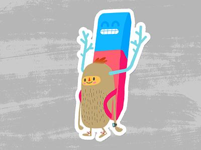 Gomakun character illo dribbble stickermule eraser weirdink gomakun