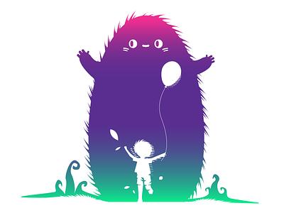 B.F.F.E (Beast friend for ever) gradient happy vector girl balloon fun friends beast