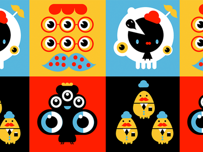 Eyes Hats and Critters monsieur eyes moustache characters illustration design pattern