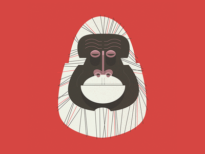 Albino style retro midcentury portrait gorilla albino