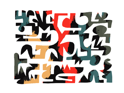 Colour_Maze_001 1950s forms shapes illustration maze modern retro midcentury
