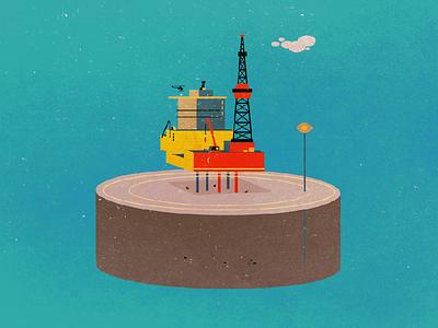 Oil Rig vector illustration sea landscape retro oil rig