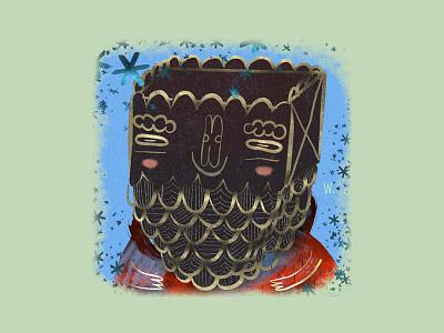 Bearded Giftman illustration giving xmas beard sticker mule playoff dribble gift