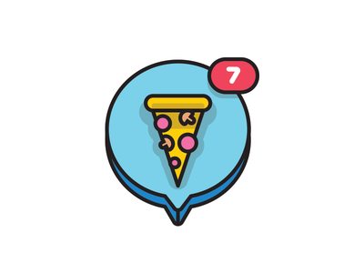 Pizza notfication simple vector bubble notification icon ui pizza