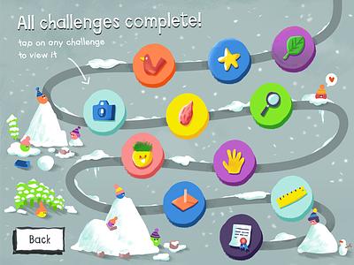 Challenges Screen Concept exploration ipad ui characters illustration concept