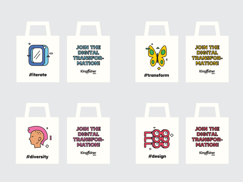 Totebags for Kingfisher's  Siliconmilkroundabout booth transform illustration design totebags promo