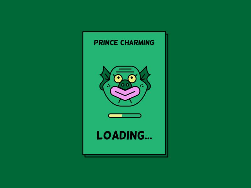 Prince Charming loading... illustration illustrator fun design characters vector retro character