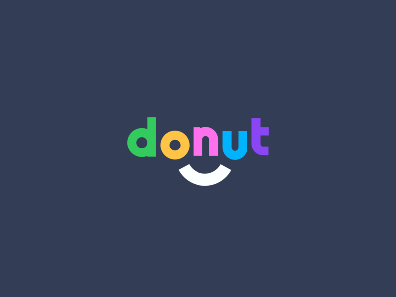 Donut Logo colourful pop vector sketch sass donut smile fun playfull logo