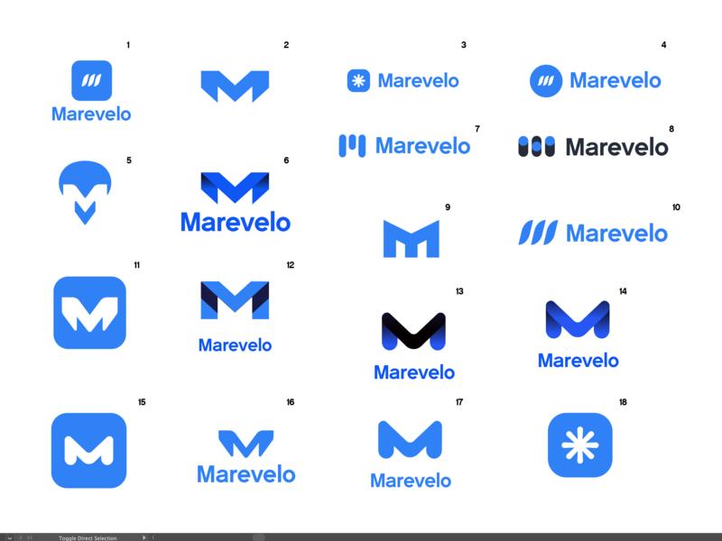 Marevelo Logo Explorations illustrator saas startup explorations logo