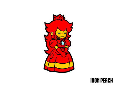 Iron Peach adobe illustrator vectors superhero movies videogames princess peach toadstool nintendo ironman crossover