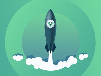 Rocket for VueFront vuejs vue rocket adobe illustrator vector illustration vector art vector ecommerce illustration