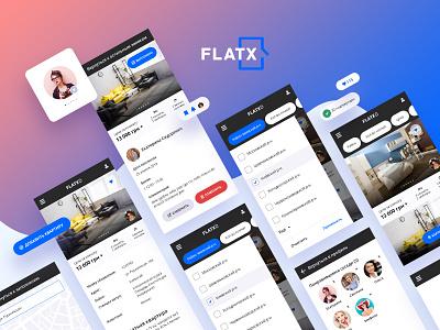 FlatX. UI Composition. design logo real estate app modules extensions ux ui