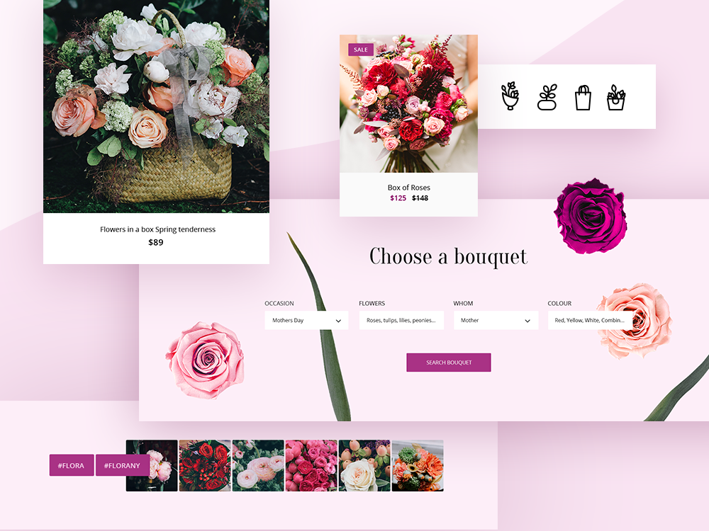 Flowers Theme icons set icon ux ui template ecommerce opencart