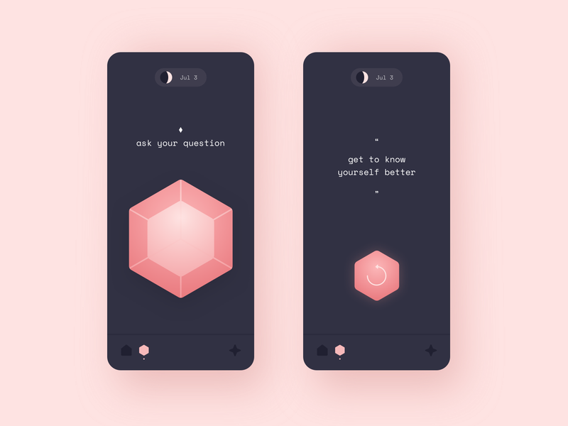 Magic hexagon app concept ui magic ball hexagon mobileapp design mobile app