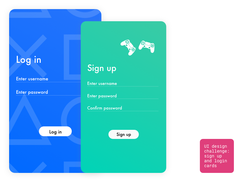 UI Challenge #1 - Sign up and login cards by Yuliia Kucherenko on