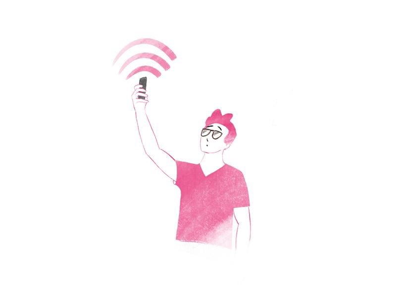 hi! - No Internet procreate wifi productdesign internet phone characterdesign nointernet emptystate