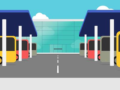 Bus station - Class Ninjas 2danimation flatdesign station bus scenario illustration motiongraphics graphicdesign animation