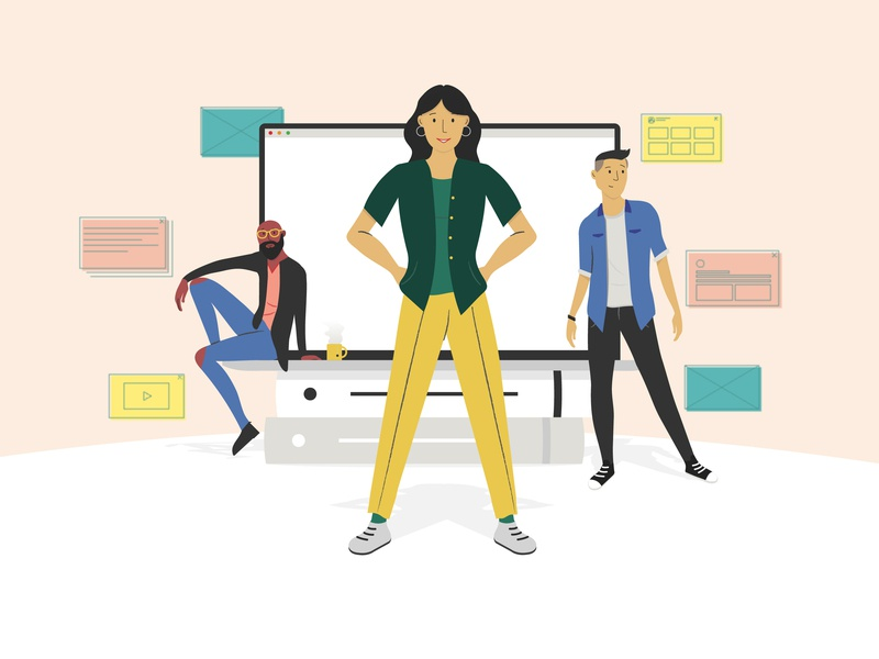 Team growth wireframes pose macbook air digitalwork digital team characterdesign illustration
