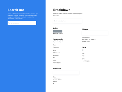 Search Bar Breakdown effect shadow color structure icon typography design search bar ux ui