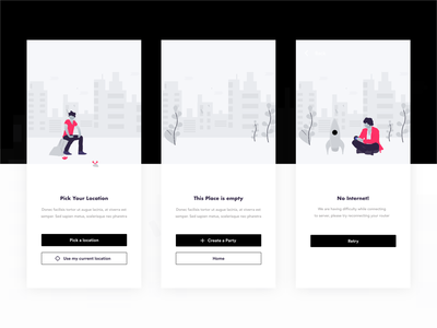 Onboarding, Empty State & Pick Location illustration service branding typography ios black native design business ux ui