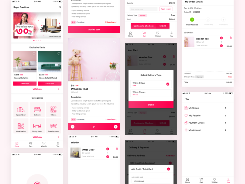 Regal Furniture Ecommerce Mobile App (Concept) wishlist order checkout payment clean store shop app design bangladesh business ux fmcg product service ios android ecommerce app furniture minimal