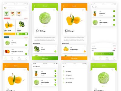 Grocery App - Freebie service business product wishlist cart ecommerce vegetable fruits grocery freebie