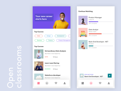 Open Classrooms -  Concept App openclassrooms course watch android ios education app service ux business ui