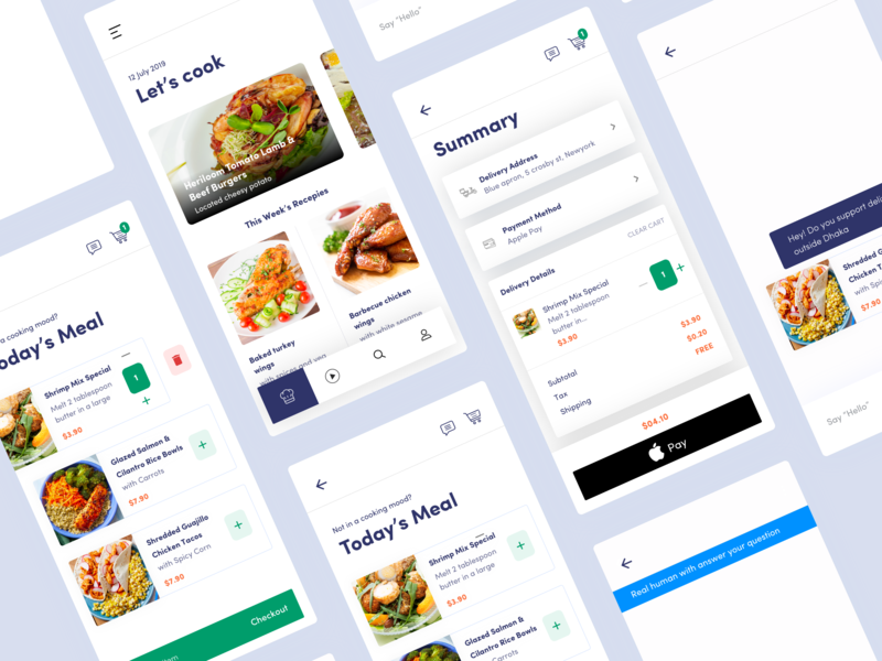 Blue Apron - Redesign Concept concept clean design recipe checkout order restaurant food meal chat payment startup product list typography bangladesh ios service business ux ui
