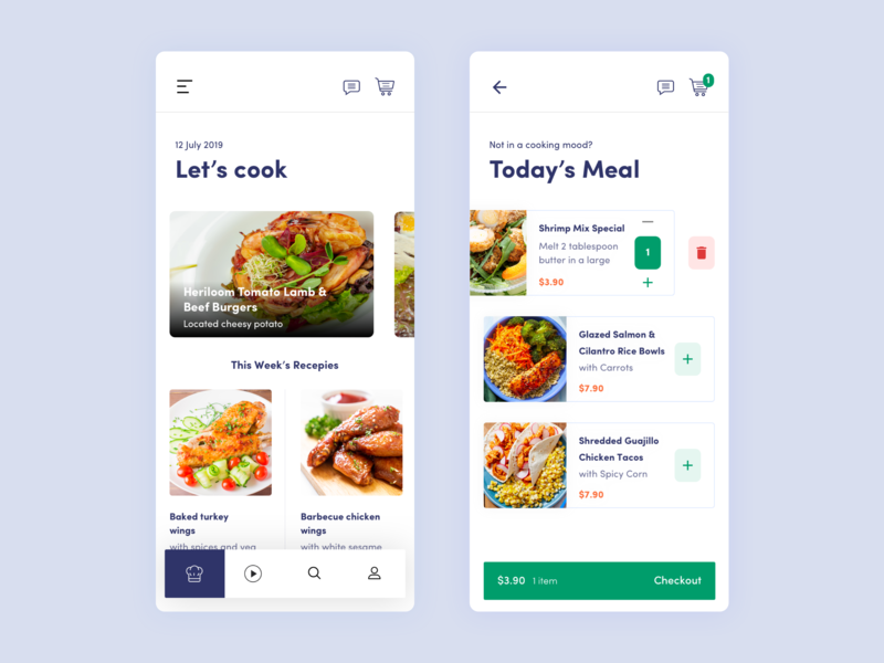 Search recipe bangladesh ios mobie order price chef homemade food delete price list recipe cook checkout ux ui