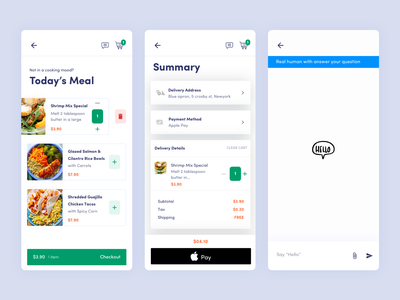 Checkout   Support ux ui checkout list summary delivery restaurant food app chat support