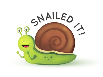Snailed It! pun illustrator illustration snail vector