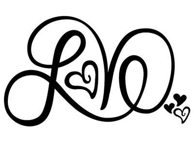 Love handlettering heart script lettering hand drawn love