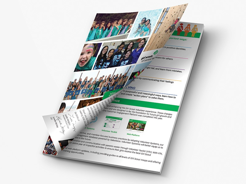 Annual Report print publication layout girl scouts annual report