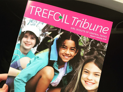 Issue #6 of the Trefoil Tribune in-house publication graphic designer magenta design layout editorial magazine design magazine