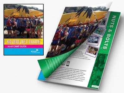 2018 Girl Scouts Camp Guide book design layout publication camp guide camping camp girl scouts