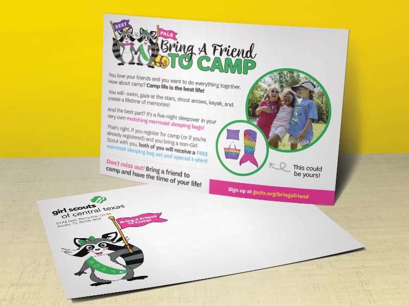 Bring A Friend To Camp! Mailer typography design print illustration layout card postcard mailer