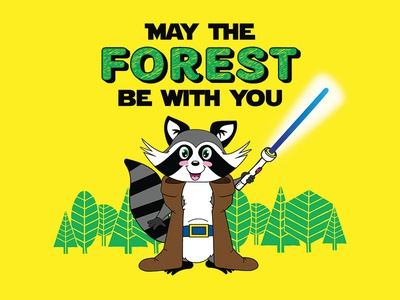 May the Forest be with you Tee Design star wars jedi raccoon graphic design tee t-shirt camp forest illustration