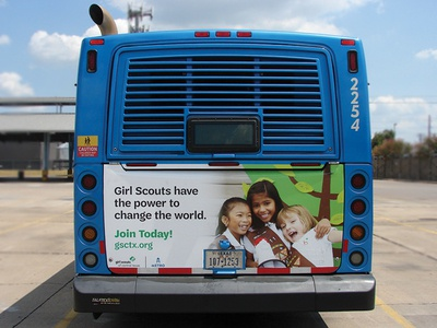 Cap Metro Bus Ad call to action girls billboard print advertisement ad