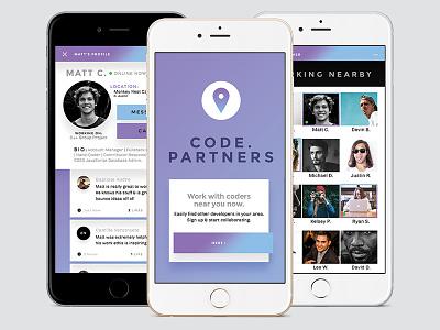 Code.Partners UI mockup social logo material design visual design app ui
