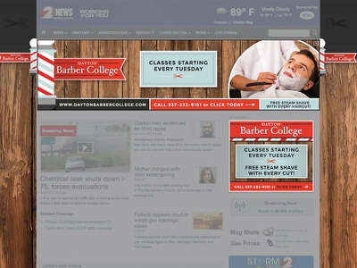 Dayton Barber College Ad Campaign web barber homepage takeover digital advertising banner ad banner ad advertising