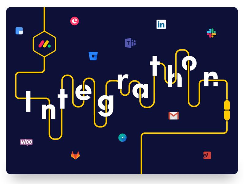 Poster for our Integrations Hackathon todoist woocommers gitlab facebook ads gmail clearbit bitbucket copper microsoft teams linkedin slack fun hackathon typography poster typography art rnd integration integrations