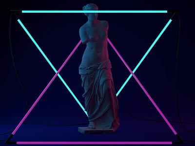 Hold still cinema4d physical render sculpture 3d dark light venus