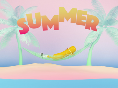 Summer is here holliday 3d cinema4d physical render character design summer typography