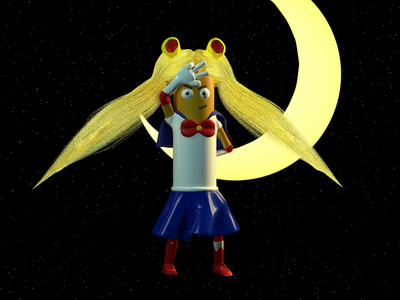 Sailor moon super hero moon space physical render anime sailor moon cinema4d character cartoons animation adobe 3d