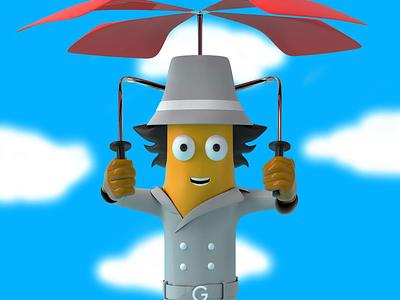 Go go gadget inspector cartoons 80s 3d 3d modeling c4d character design