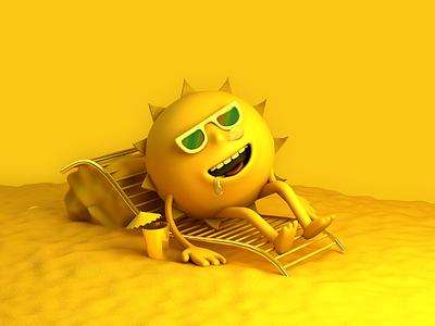 Mr. Sun summer illustration cinema4d character design