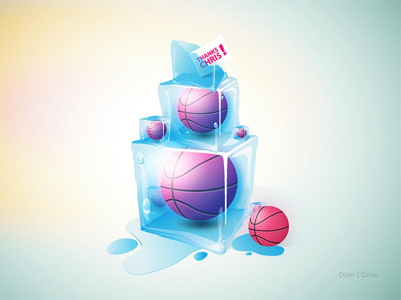 Thanks Chris Hall thanks thank you debuts illustrator photoshop dribbble ball ice basketball