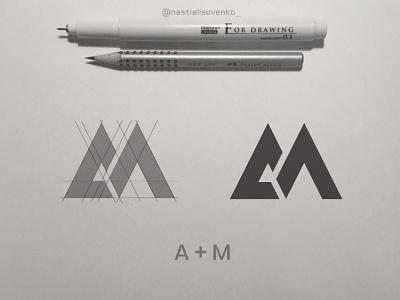 Alpha Media grid minimalism logogrid logo graphic design