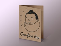 Hand illustrated kraft birthday card