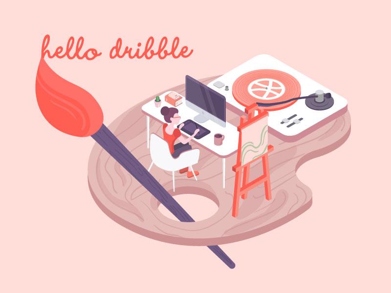 Hello Dribbble isometric illustration painting first isometric hello debut illustration